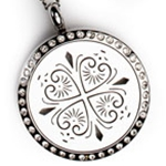 Four Hearts Aroma Locket Necklace With Crystals, 25mm size