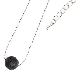 Lava Single Bead Necklace Silver Chain