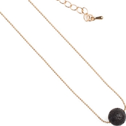 Lava Single Bead Necklace Gold Chain