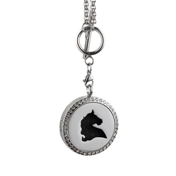 Horse Head Aroma Locket Necklace, 30mm size