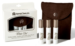 White Lily ~ 3 Little Annie's ™ Travelers with Suede Travel Pouch
